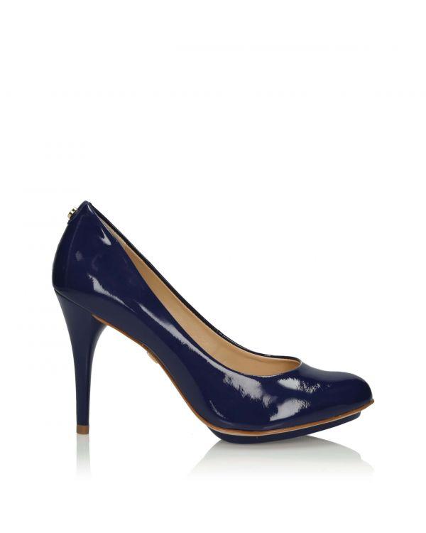 Granatowe klasyczne czółenka damskie 3i - 10822 Blue - 1