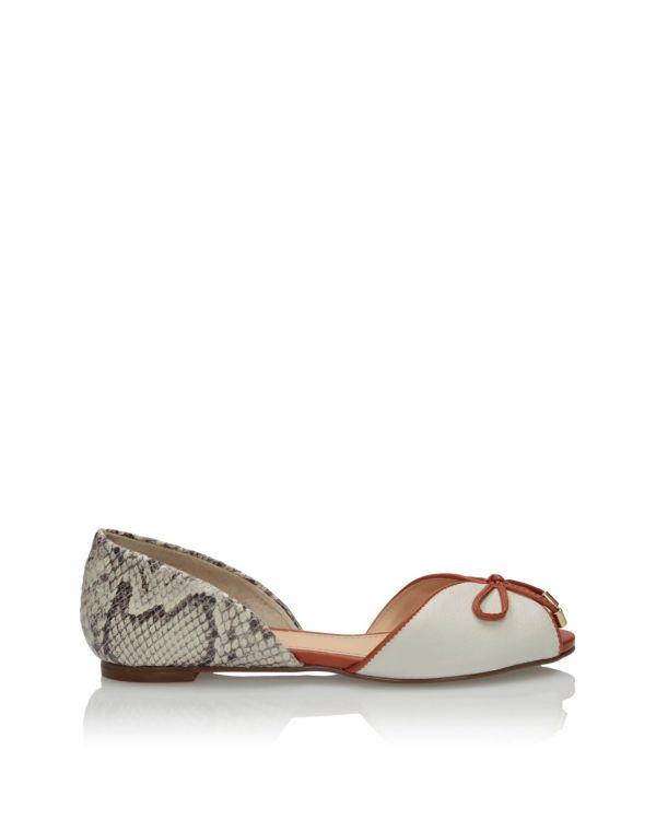 Biało-brązowe baleriny damskie 3i - 11561 - 1