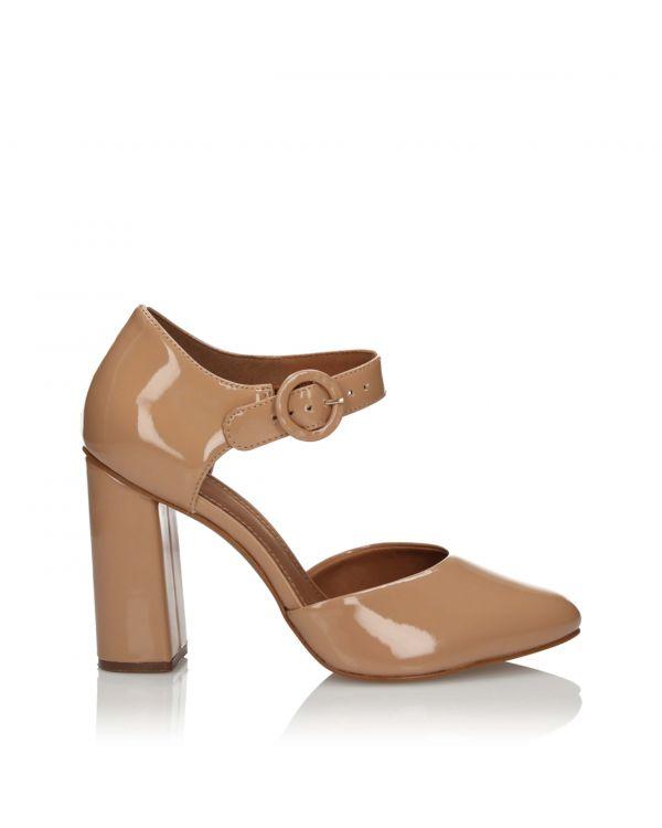 Beżowe lakierowane sandały damskie 3i na słupku - 10861 Natural - 1