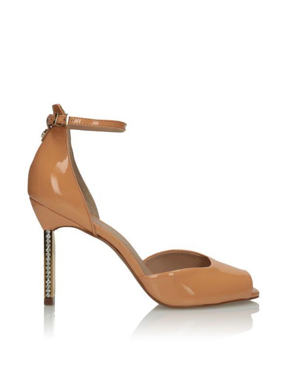 Kremowe skórzane sandały damskie 3i - 07569 - 1