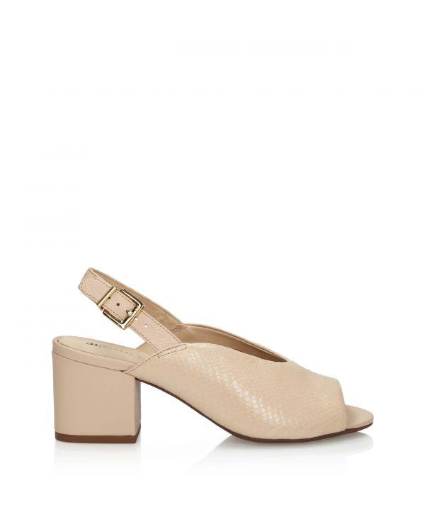 Kremowe sandały damskie na wygodnym klocku 3i by Jorge Bischoff - 11144 - 1