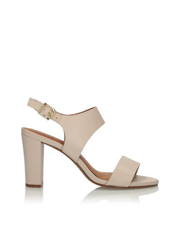Kremowe skórzane sandały damskie 3i - 11631 - 1