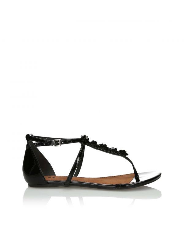 Czarne sandały lakierowane damskie 3i - 10843 Preto - 1