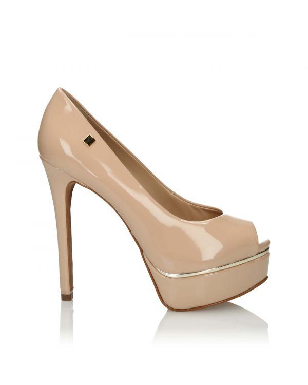 3i Nude peep toe high heels - 10848 - 1