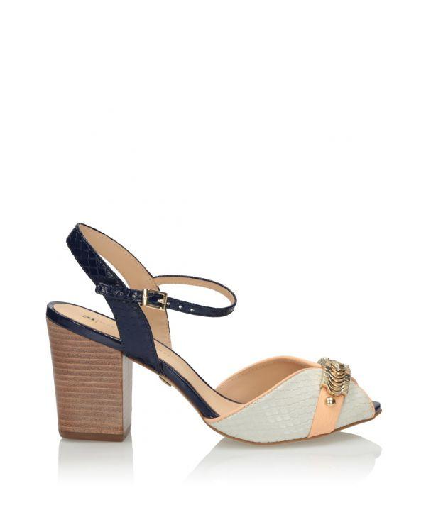 Multikolorowe sandały damskie na klocku 3i - 11583 - 1