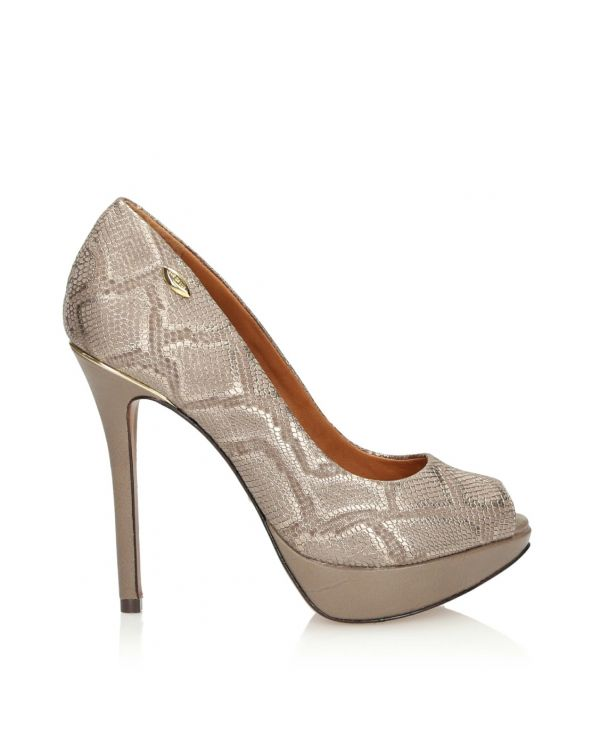 3i Gold-Beige peep toe high heels  - 10129 - 1