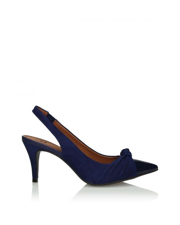 Granatowe sandały damskie 3i na szpilce - 10870 Blue - 1