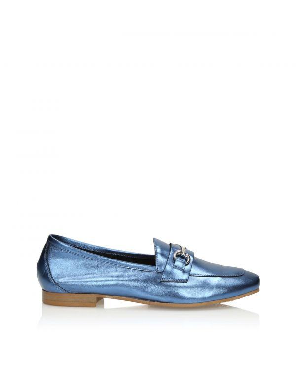 Niebieskie skórzane klasyczne półbuty damskie 3i - 11080 - 1