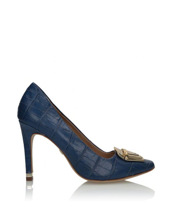 Niebieskie skórzane czółenka damskie 3i - 08215 - 1