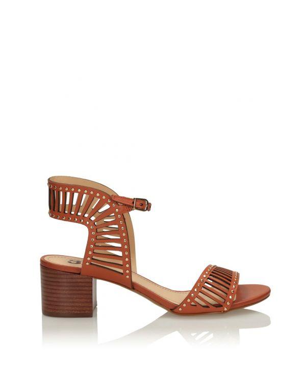 Ażurowe sandały damskie na klocku - 11557 - 1