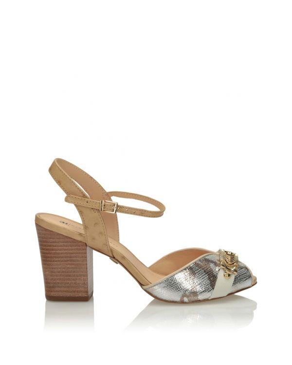 Multikolorowe sandały damskie na klocku 3i 11564 - 1