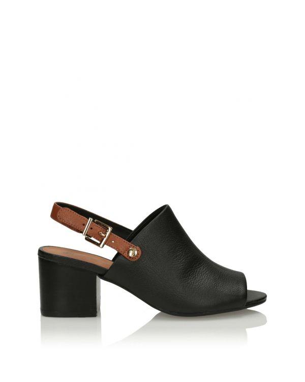 Czarne sandały damskie na klocku 3i - 11578 - 1