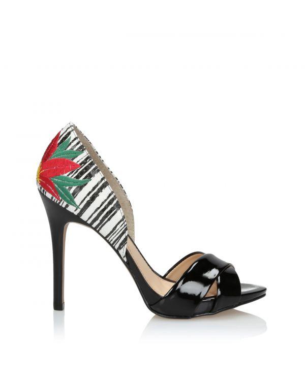 Czarno-białe sandały damskie 3i na szpilce - L21001060X03 - 1