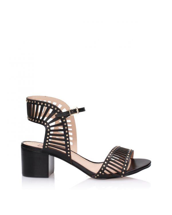 Czarne sandały damskie na klocku 3i - 11582 - 1