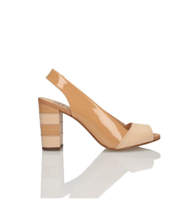 Beżowe sandałki damskie na klocku 3i - 11584 - 1