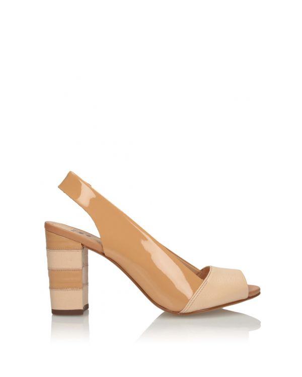 Beżowe sandałki damskie na klocku 3i - 11584 - 5
