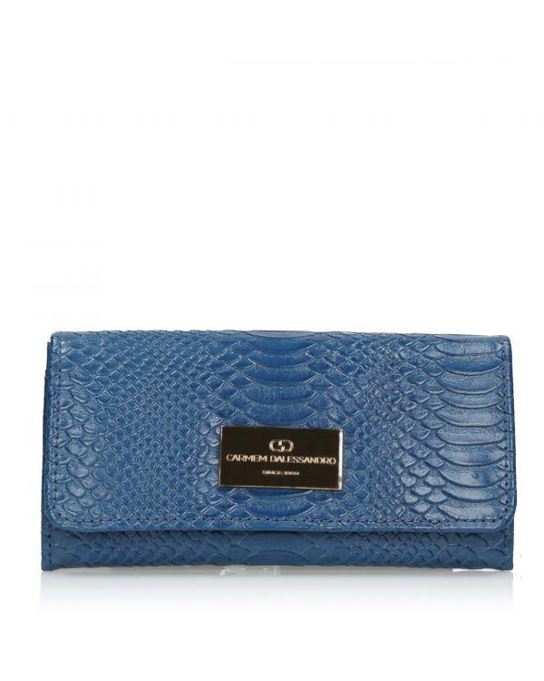 Kobaltowy skórzany portfel damski 3i - OTH-463 Bluete - 1