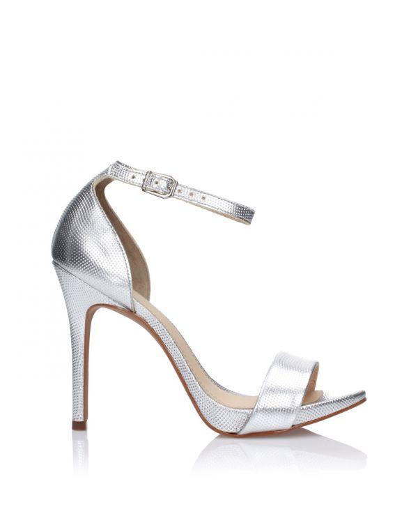 Srebrne sandały damskie 3i na szpilce - L21001025/Z07 Prata - 1
