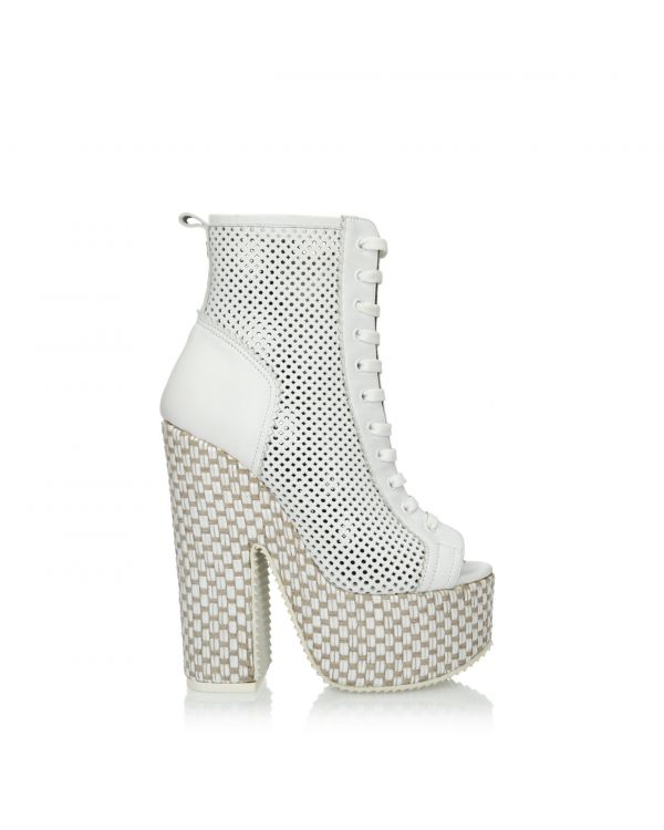 White ankle boots on a platform - John Galliano 2910 Bianco - 1