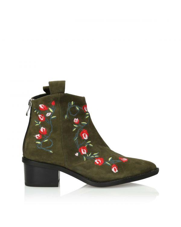 Zamszowe botki damskie 3i ze wzorem kwiatowym w kolorze khaki - 10662 Green - 1