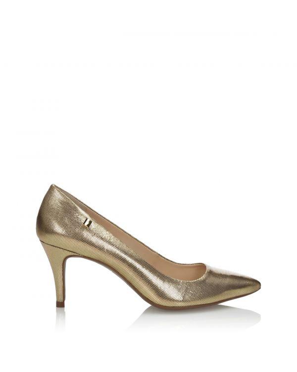 Złote czółenka damskie 3i na szpilce - 10441 - 1