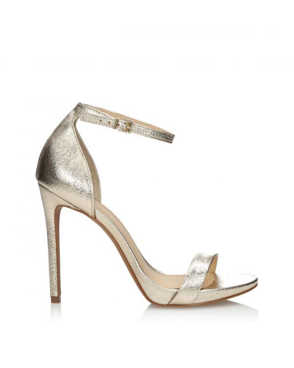 Złote sandałki damskie na szpilce 3i - L21119017X17 Ouro - 1