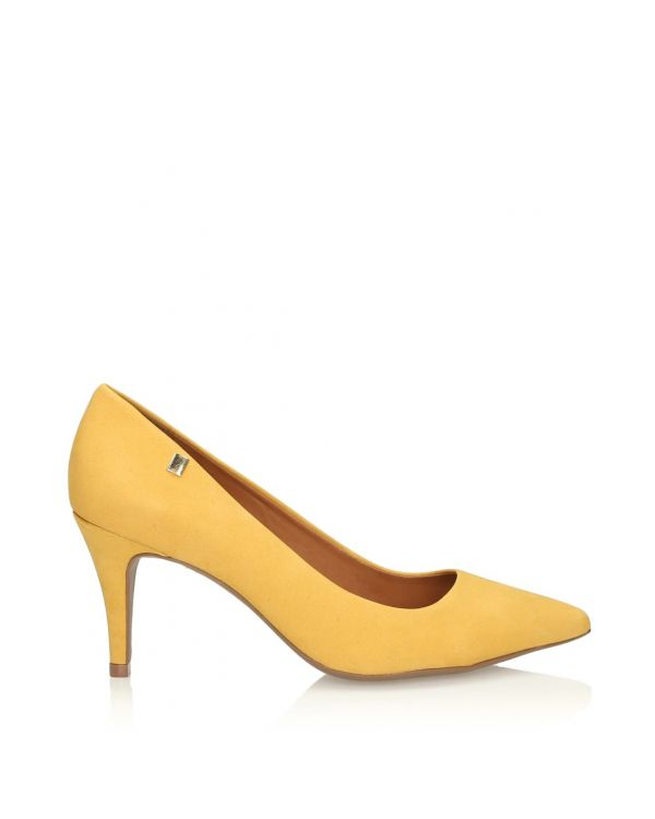 Żółte czółenka damskie na szpilce - 11005 - 1