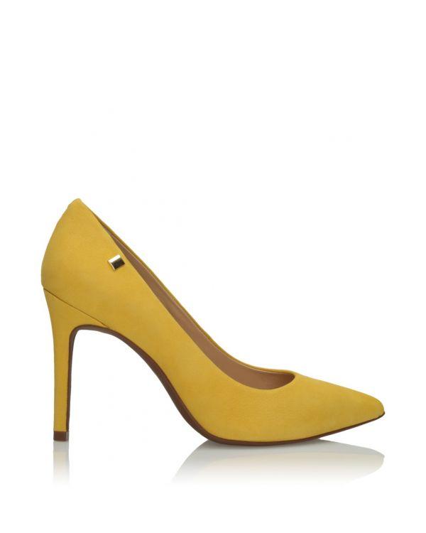 Żółte skórzane czółenka damskie 3i - 11322 - 1